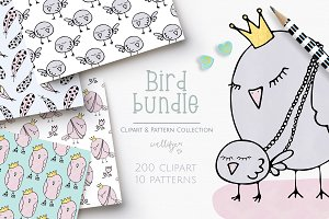 Bird clipart and pattern bundle