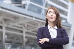 Portrait of young business woman wit