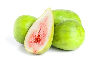 Ripe green fig fruit and half