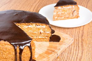 Sliced chocolate birthday cake