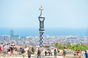 Park Guell with crowd of people