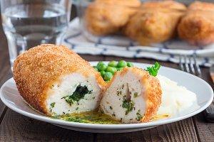 Chicken Kiev, ukrainian cuisine. Cut