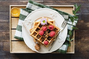Belgian waffles on serving tray