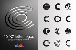 12 C Letter Logos - Vector & Mock-Up
