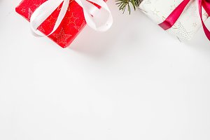 Christmas background with gifts boxe