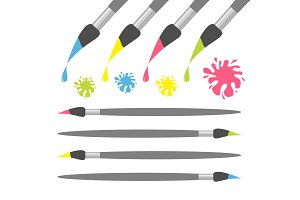 Paint brush icon set Ink blot splash