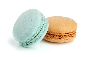 orange and blue macaroon isolated on