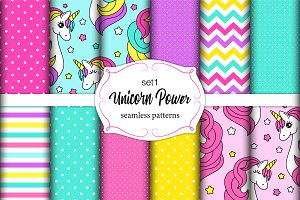 Cute seamless patterns with unicorn
