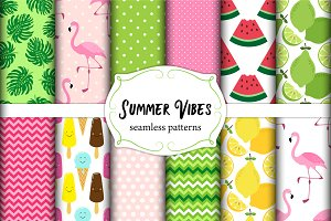 Summer Vibes seamless patterns