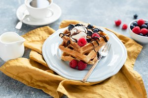 Belgian waffles with ice cream