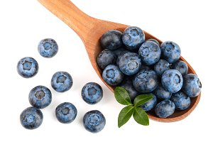 fresh ripe blueberry with leaf in