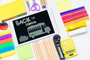 tablet and school supplies