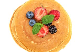 Pancakes stack with strawberry and