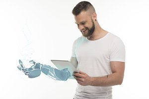 man with virtual hand