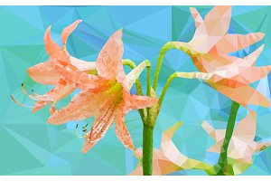 Low poly of Amaryllis flower