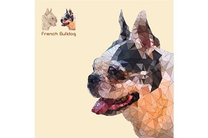 Low poly head french bulldog