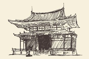 Japan pagoda illustration