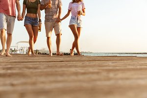 Group of friends walking outdoors on