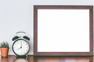Wooden frames and alarm clock