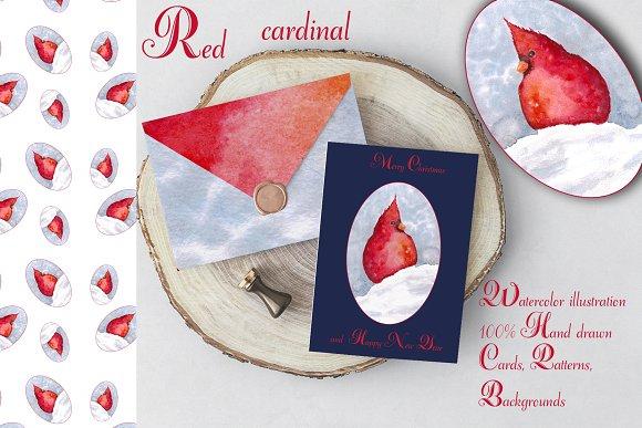 redbird christmas winter set illustrations