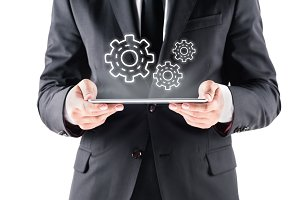 businessman with tablet with virtual