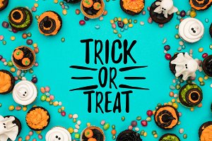 halloween cupcakes and candies