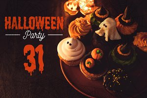 halloween cupcakes and burning candl