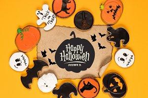 frame of halloween cookies