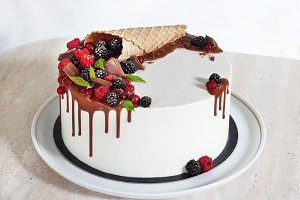 Festive cake with chocolate and