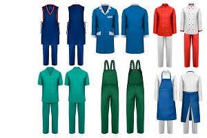 Set of overalls with worker clothers