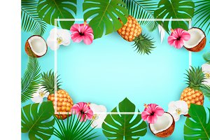 Summer tropical background. Vector