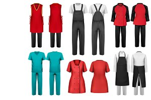 Set of overalls with worker