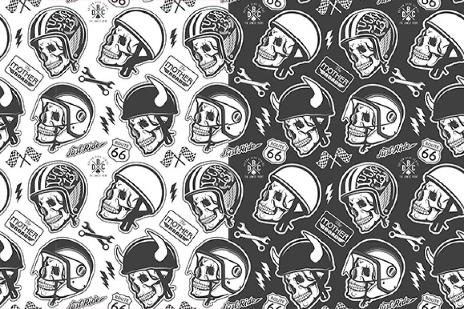 Pattern with skulls and helmets