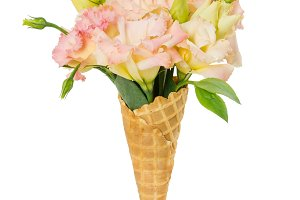 Waffle cone with flower bouquet