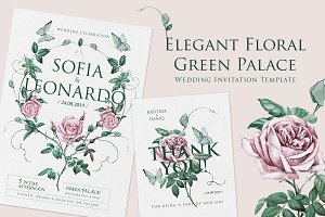 Green Palace Elegant Invita Template
