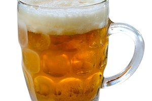 glass of cold beer isolated over whi