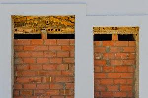 bricked up door and window
