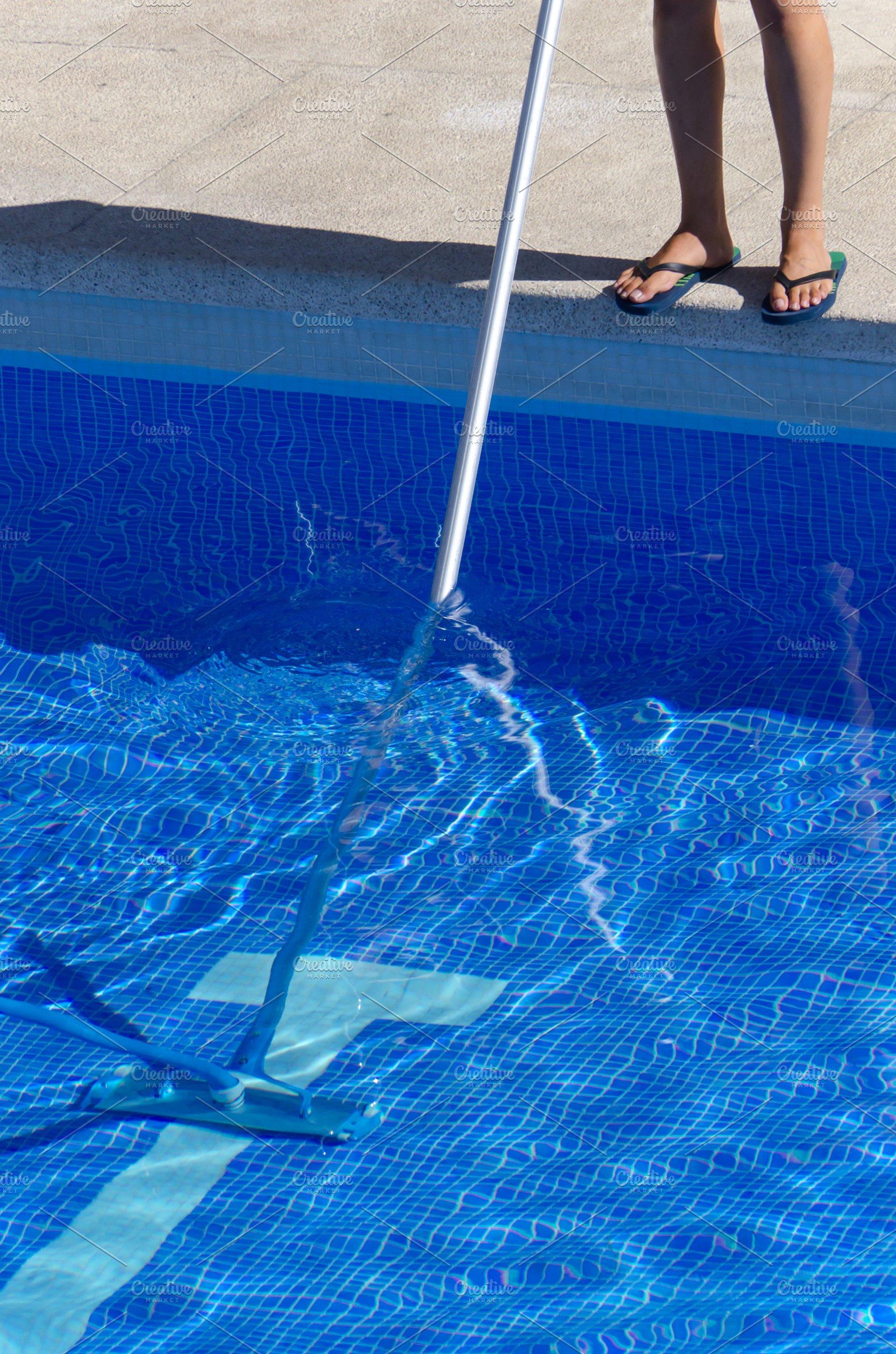 Summer pool cleaning maintenance ser ~ People Photos ~ Creative Market