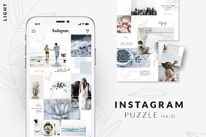 Instagram PUZZLE template - Light