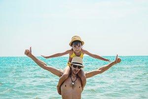 daughter and dad at sea. Selective f