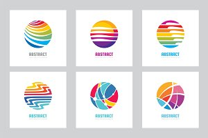 Abstract Colored Circle Logo Set