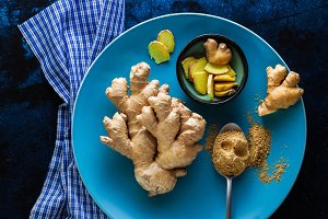 roots of ginger and powder from it.