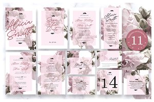 Burgundy Wedding Invitation Ac.8