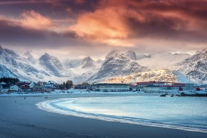 Beautiful arctic sandy beach