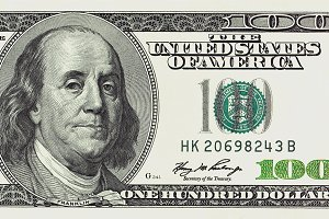 One hundred dollars bill detailed