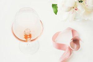 Rose wine in glass, pink decorative