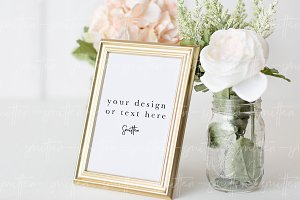 Gold Frame Wedding Mockup