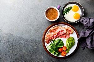 Ketogenic diet breakfast. fried egg