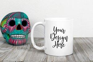 11oz White Mug Mockup w Skull