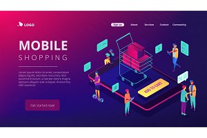 Isometric mobile shopping and buying